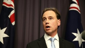 Greg hunt with flag looking mad