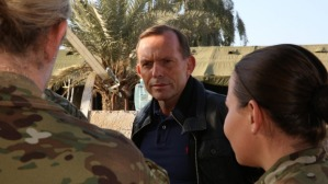 abbott talks to military in Iraq