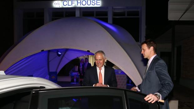 turnbull arrives at bernardis fundraiser