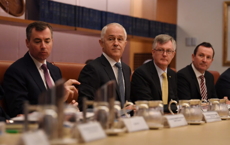 Australian Prime Minister Malcolm Turnbull speaks to State and Territory leaders during a special meeting on counter-terrorism of the Council of Australian Governments (COAG) at Parliament House in Canberra, Thursday, October 5, 2017. (AAP Image/Lukas Coch) NO ARCHIVING