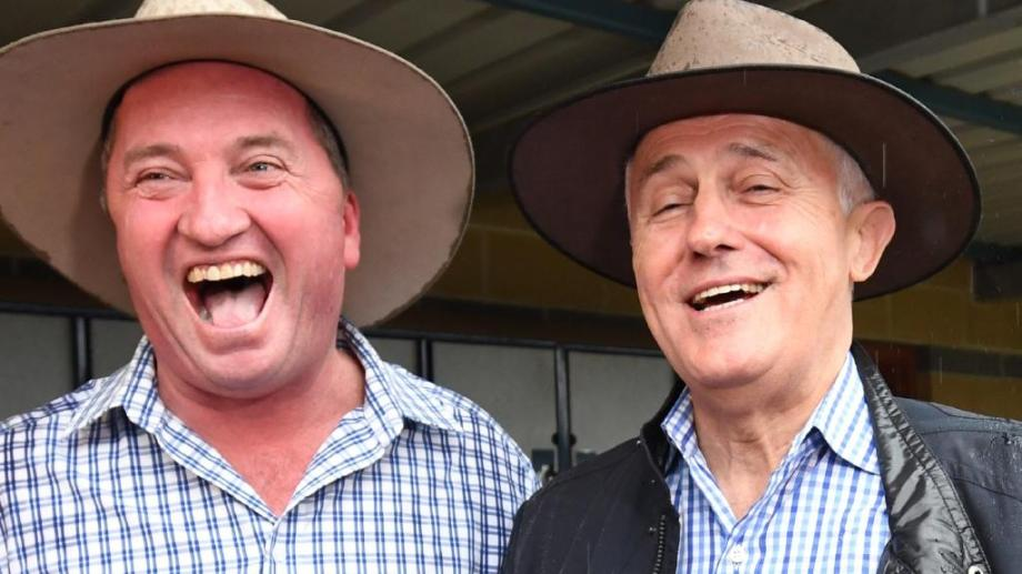 turnbull and barnaby in hats at tamworth