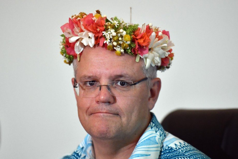 scomo in floral headgear pacific islands forum 2019